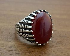 925K Sterling Silver Mens Ring With Red Jade Stone