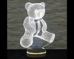 Teddy Bear Shape, Art Deco Lamp, 3D LED Lamp, Kid's Room Decor, Art Lamp, Nursery Light, Plexiglass Lamp, Decorative Lamp, Acrylic Lamp by ArtisticLamps