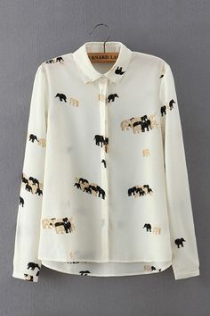 Elephant Print Shirt with Long Sleeves -YOINS