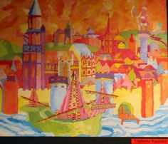 An impression of Treviso, Italy by Umberto Vazzoler, a student of Prof. Fabio Sandrini at L. Coletti Middle School in Treviso, one of 95 communities in the Sister City twinning with Sarasota and Treviso Province in Italy. The art was displayed at the Hands of Heritage Fest at Robarts Arena in Sarasota in 2003