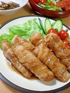 「シャキシャキ長いもの豚バラ巻き♪」長いもを豚バラで巻いてかさ増し☆長いもの食感を残して焼くので、シャキシャキ美味しいです^^甘辛のタレも食欲そそるので、ご飯おかわりコース確実ですよ~☆【楽天レシピ】