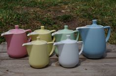 Vintage Melitta Coffee Pots, different sizes and colors by cocotteminute on Etsy https://www.etsy.com/listing/194808971/vintage-melitta-coffee-pots-different