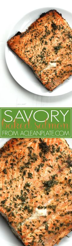 Savory Baked Salmon, a healthy and easy seafood recipe.