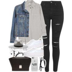 striped shirt, denim jacket, white sneakers, black skinny jeans