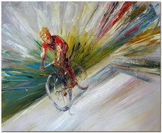 Cycling Race   Signed Hand Painted Palette by FolkcultureGallery