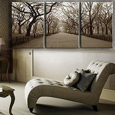 Stretched Canvas Art Landscape The Central Park Set of 3 - USD $ 69.99
