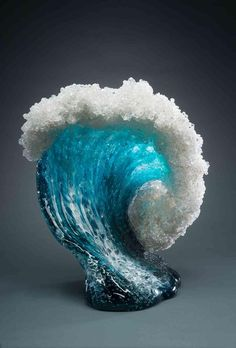 """culturenlifestyle: """" Sculpting The Sea with Glass – Vases and Home Décor Recreates the Monumental Beauty of Waves California-based artist duo Marsha Blaker and Paul DeSomma creates spectacularly. Blown Glass Art, Fused Glass Art, Stained Glass, Frozen Waves, Cristal Art, Glass Vessel, Ocean Waves, Resin Art, Sculpture Art"""