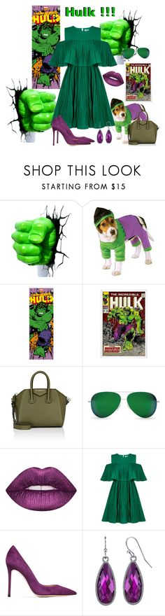 """""""Hulk Smash"""" by bitty-junkkitty ❤ liked on Polyvore featuring Givenchy, Victoria Beckham, Lime Crime, Jovonna, Gianvito Rossi and 1928"""