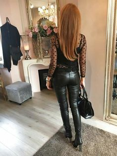 Amateur redhead black leather pants bottom