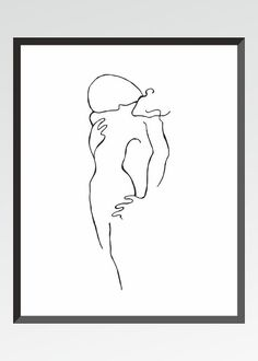 Two figures. Minimalist black and white print. Abstract by siret