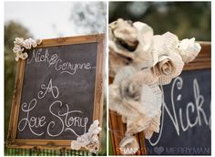 Country Shower - Large chalkboard with newspaper flowers