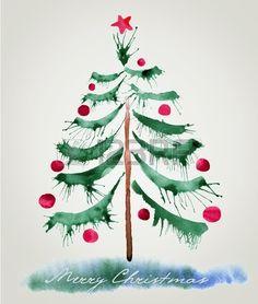 Christmas tree, watercolor painting