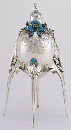 Art Nouveau French sterling silver and enamel lidded caviar server by Jules Auguste Habert-Dys in 1905.