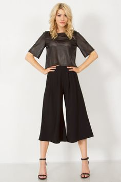 671b71e0c765 Image of  SWING ME  Culottes Pants Black Pleated Culottes