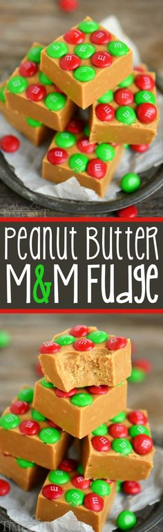 Truly the BEST Peanut Butter Fudge of your life! The EASIEST candy you'll make all season and will FOR SURE become a new favorite! This Outrageous Peanut Butter Fudge with M&Ms is so creamy and so delicious and is topped with festive holiday M&M's! Perfect for Christmas! // Mom On Timeout #fudge #recipe #recipes #Christmas #holidays #holiday #peanutbutter #candy #candies