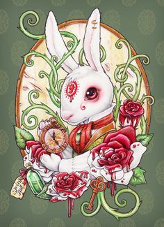RABBIT HOLE print White Rabbit Alice in Wonderland Lewis Carroll tale signed print H.Q matte couche paper Medusa Dollmaker White Rabbit Tattoo, Rabbit Tattoos, Lewis Carroll, Fantasy Kunst, Fantasy Art, Tattoo Painting, White Rabbit Alice In Wonderland, Alice Rabbit, Mermaid Poster