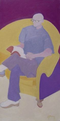 Laurence Young Reading Milton Avery  Oil on Canvas. 30 x 15 in.
