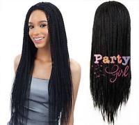New Womens Braid Hair Heat Resistant Synthetic Hair Box Braid Wigs Black 24inch