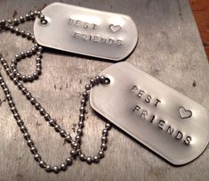 Trendy pair of industrial best friend dog tag necklaces FREE shipping on Etsy, $22.00 Cute Christmas gift for your BFF!