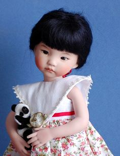 This is Lily, an all porcelain collectors doll from the original Dianna Effner mold Darling II. She is one in a two doll series Darling I & II which Pretty Dolls, Cute Dolls, Beautiful Dolls, Antique Dolls, Vintage Dolls, Girl Dolls, Barbie Dolls, Dolls Dolls, Effanbee Dolls