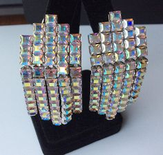 Beautiful Monet Dangly Aurora Borealis Earrings