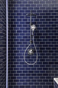 blue subway tile in this bathroom shower stall Blue Subway Tile, Glass Subway Tile, Blue Tiles, Bad Inspiration, Bathroom Inspiration, Custom Glass, Beautiful Bathrooms, Modern Bathroom, Small Bathrooms