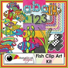 Fish Clip Art Kit is a HUGE, vibrant and fun kit.  With Fish Clip Art including seaweed, Papers, Frames/Borders, Alphabet letters and Numbers you will be able to design numerous items, including product covers, that are eye catching and will be an asset to your products.