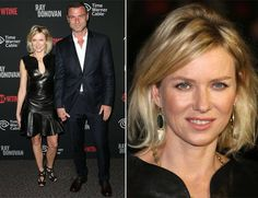 #Naomi #Watts and her #actor beau Liev Schreiber attended Showtime's new series premiere of ' #Ray #Donovan' held at the Directors Guild of #America in #California. Naomi wore an #Alexander #McQueen leather #dress. Black accessories including a #clutch, #sandals and a gold #necklace completed her look.  Liev Schreiber opted for a simple midnight-blue #suit with an open white shirt.