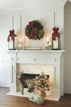 Christmas mantle inspiration FREE personalization on stockings