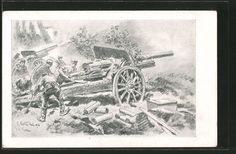 old postcard: Künstler-AK Schlacht um Verdun, Artillerie-Stellung, Geschütz wird nachgeladen