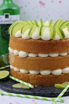 A Three Layer Gin and Tonic Cake with G&T Drizzle, and G&T Frosting with a touch of Lime. Gin And Tonic Cake, Janes Patisserie, 70th Birthday, Afternoon Tea, Frosting, Cake Recipes, Sweet Treats, Lime, Desserts