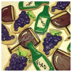 Wine themed Cookies for a Bridal Shower at a Winery!