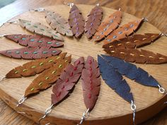 Leather Leaf/Feather Earrings with Stitching Detail