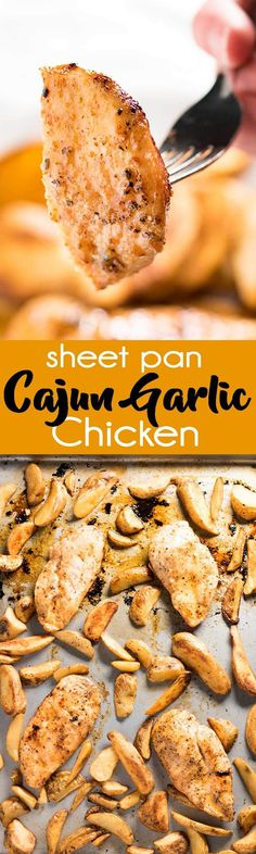 Incredibly flavorful Cajun seasoned chicken and fries makes for a super easy weeknight dinner the whole family will love! This chicken has a delicious Cajun garlic butter sauce slathered on top to keep it juicy in the oven. The seasoned fries cook right along side it on the same pan to keep clean up a breeze! via @Rachael Yerkes
