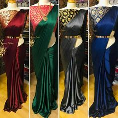 Saree Original Satin Crepe Silk Designer Indian Party Wear Bollywood New Sari AT Saree Gown, Satin Saree, Sari, Crepe Silk Sarees, Silk Satin, Fancy Sarees Party Wear, Saree Designs Party Wear, Silk Saree Blouse Designs, Fancy Blouse Designs