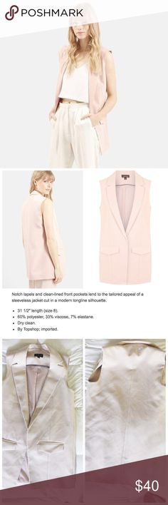 """'Holly' Tailored Sleeveless Blazer in Blush Pink Classy light pink sleeveless blazer vest from Topshop. In excellent gently used condition. Fully lined with two front faux pockets. US size 2. Oversized fit. Sold out everywhere online! Measured laying flat:  Bust: 15"""" Waist: 16.5"""" Length: 30"""" Topshop Jackets & Coats Blazers"""