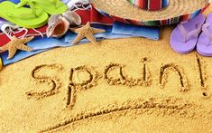 Download wallpapers Summer travel, beach, sand, traveling to Spain, beach accessories, summer, Spain