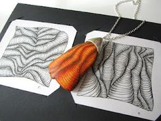 combining zentangle and polymer clay - by fabi - This is a transfer, not ink directly on the clay....very pretty #polymer #clay #tutorial