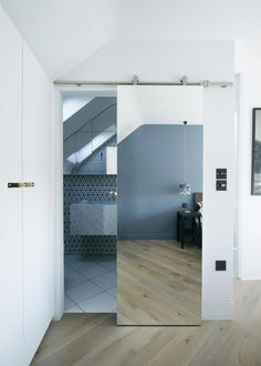 The Best Interesting Sliding Door Design That Will Improve Your Bathroom Style Nowadays the existence of sliding bathroom doors is becoming increasingly popular among designers and homeowners with contemporary decor. This is beca. Curtains For Closet Doors, Double Closet Doors, Folding Closet Doors, Bedroom Closet Doors, Hallway Closet, Mirror Bedroom, Master Bathroom, Curtain Door, Bathroom Closet