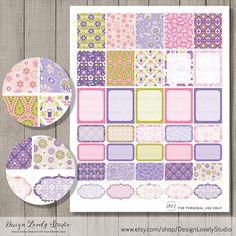 Printable Planner Stickers, Erin Condren Vertical Planner Stickers, Planner Printables, Weekly Planner Kit, Weekly Stickers, Floral Stickers
