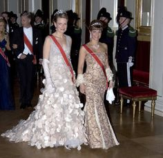 (L-R) Princess Mathilde of Belgium & Princess Martha Louise of Norway attends Gala Dinner & Dance At The Royal Palace in Oslo.