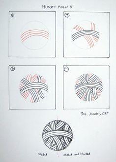 Hurry holli Zentangle doodles how to Tangle: Pattern Tutorial - Zentangeln Zentangle Drawings, Doodles Zentangles, Doodle Drawings, How To Zentangle, Tangle Doodle, Zen Doodle, Doodle Art, Zantangle Art, Zen Art