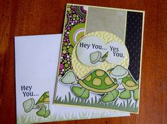 Handmade Thinking of You Card: turtle, duck, get well, green, yellow, complete card, handmade, balsampondsdesign by balsampondsdesign on Etsy