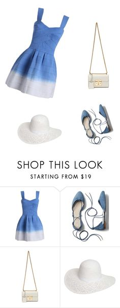 """""""blue dress in summer"""" by explorer-14697201715 ❤ liked on Polyvore featuring Gap, Gucci and Dorothy Perkins"""