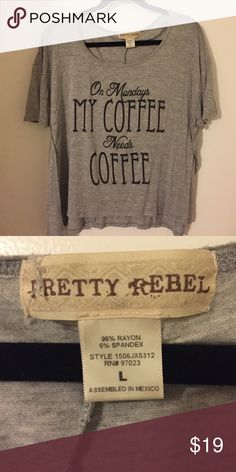 High-low Coffee Tee Super cute and soft thin cotton. Only worn a few times. Pretty Rebel Tops Tees - Short Sleeve