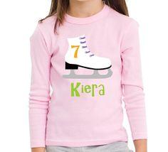 Ice Skate Birthday Shirt Personalized Long by personaliTEEshop, $24.00