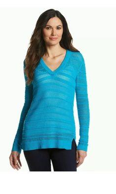Michael Kors Mesh V Neck Tunic Sweater Blue Size XL | eBay