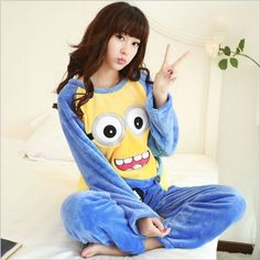 Unisex Flannel Adult Minion Pajamas Women winter Sleepwear costume Cartoon New  #Unbranded #PajamaSets