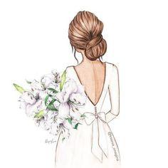 Illustration of bride . Wedding Drawing, Wedding Art, Wedding Bride, Bengali Wedding, Bride Veil, Korean Wedding, Gown Wedding, Wedding Photos, Wedding Illustration