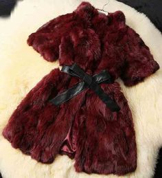 Real Rabbit Fur Coat with PU Leather Belt Casual Women Jacket Winter Lady Spliced Fur Outwear Big Size Available AU00315